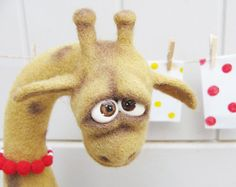 Felted animals Felt doll Soft sculpture Collectible by VladaHom