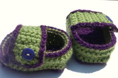 purple and green baby sandals crochet shoes