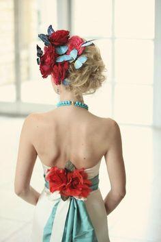 bride in aqua and red