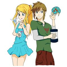 Samus and Link exchanging gifts by Archytechture