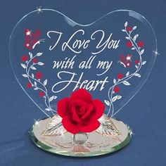 """Glass Rose and Heart, """"I Love You With All My Heart"""" Figurine by Glass Baron"""