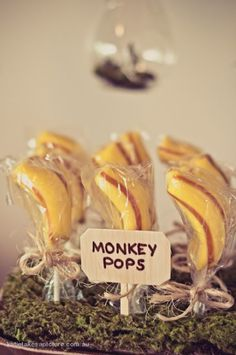 Cute banana monkey pops for a birthday party! Lots of ideas here! KarasPartyIdeas.com - THE place for all things PARTY!