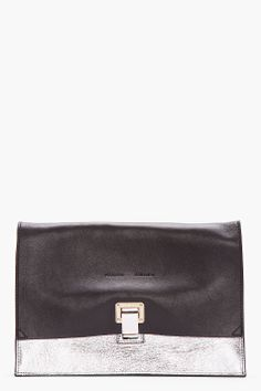 PROENZA SCHOULER Small Black & Metallic Silver LEather Lunch Bag Clutch