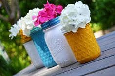 Quick and Easy Painted Mason Jar Vases