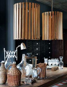 black interior, grang interior, upcycle lighting, la grange interiors, craft project, repurposed lampshade, diy, ruler upcycl, happi crafti