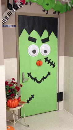 frankenstein halloween door decorations | Frankenstein door w/ pumpkin nose...love this! | Halloween Ideas
