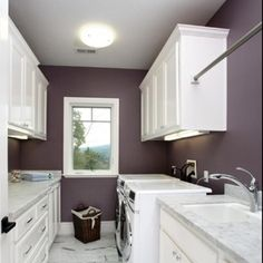 Benjamin Moore Tempest- def my master or laundry room color love laundry room setup too- gray purple