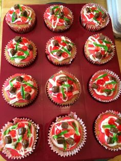 Love these cupcakes at a Pizza birthday party!  See more party ideas at CatchMyParty.com!