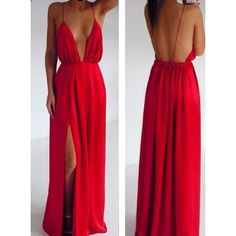 Alluring Slit Side Design Sleeveless Backless Plunging Neck Red Color Spaghetti Strap Dress,