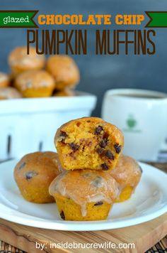 Glazed Chocolate Chip Pumpkin Muffins - pumpkin muffins with chocolate chips and a glaze on top