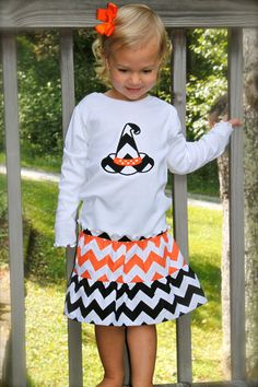 GREAT FOR HALLOWEEN girls orange & black 3 tier chevron skirt with chevron witches hat or pumpkin applique top 12mo-8yr. $38.00, via Etsy.