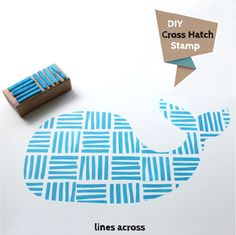 Stamp cross hatch blue whale. You could do this with any simple shape and stamp pattern. I could go crazy with this. I think I just got an idea for my Christmas cards this year!