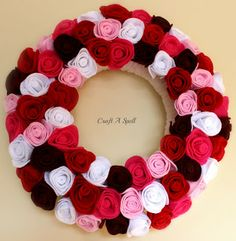 felt rose wreath from Craft A Spell perfect for Valentine's Day-I'm going to try this with t-shirts!