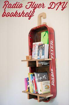 Repurposed Red Wagon Shelf ~ love this!