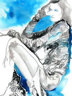 New Archival Watercolor Fashion Print Karlie by silverridgestudio - 4 sizes available