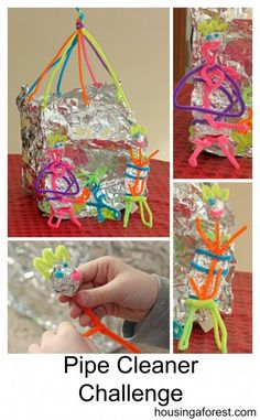 Tinfoil and Pipe Cleaner Challenge that your kids will love! team challenges, team building challenges, cleanertinfoil challeng, pipe cleaners, pipe cleanertinfoil, challenging kids, fun, pipe cleaner challenge, pipe cleaner and foil