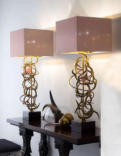 BRONZE TABLE LAMP WITH QUARTZ JEWEL A1932