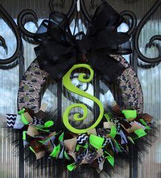 Baby Camo Ribbon Wreath Nursery Hospital Door Baby by JoowaBean, $65.00