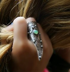 Reserved  An Angel's Wing  Chrysoprase Sterling by MercuryOrchid, $77.00