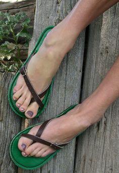 Loving these green flip-flops