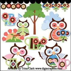 Spring Owls 3 Clip Art - Original Artwork by Trina Clark