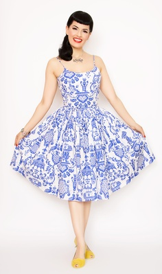 Rockabilly Girl by Bernie Dexter**50s Style Chelsea Pin Up High Tea Print Swing Dress - XS-2X