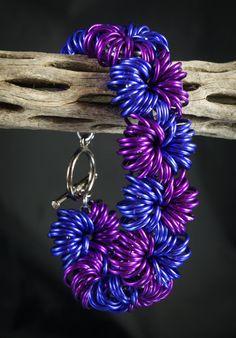 Purple Explosion Chainmaille Bracelet.