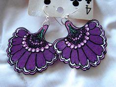 Purple Fan Flower Earrings