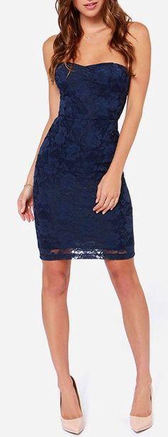 Navy Lace Dress //
