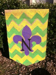 Burlap Mardi Gras Flag with Initial by ModernRusticGirl on Etsy