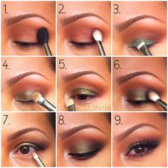 Green and gold eyes.  Steps: 1. Prime, MAC Soft Brown & Brown script. 2.MAC's Embark 3. Maybelline's Expert Wear  in Antique Jade using a wet brush. 4. MAC's Amber Lights over the green eyeshadow  5. MAC's Shroom 6.  Urban Decay's Blackout 7. Amber Lights, starting from the outer part of eye and moving brush towards tear duct.