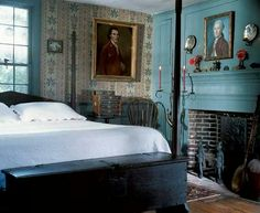 Colonial blue bedroom