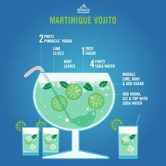 This month's Pinnacle® Punch is the Martinique Vojito. Spend the last days of summer sipping on a sensational cocktail featuring a premium French Vodka. 2 parts Pinnacle® Vodka lime slices mint leaves 1 tbsp. sugar 4 parts soda water Muddle lime, mint, and sugar in a punch bowl. Add vodka, ice and top with soda water.