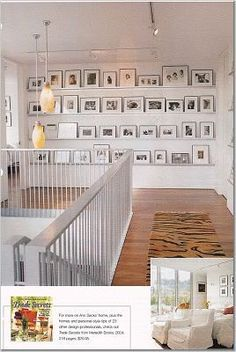 photo wall using small ledges