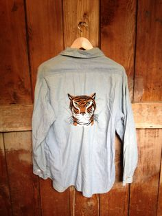 // Vintage Tiger Embroidered Chambray Shirt