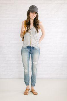 boyfriend jeans, tank, ballcap
