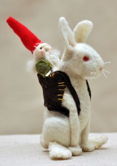 Needle Felted Rabbit and Gnome Traveller by TheLudicSpiral on Etsy, $70.00