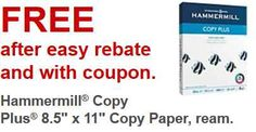 FREE Printer Paper at Staples with this coupon and rebate.