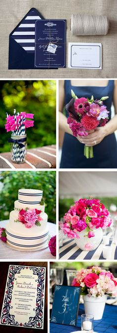 Wedding color trends Stylish Patina www.stylishpatina.com, Vintage rentals!  Navy and Fuchsia Wedding Colors
