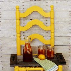 loving this - a serving tray made from pallets. That yellow chair is pretty fab too!