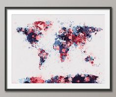 Paint Splashes Map of the World Map, Art Print 18x24 inch (184)