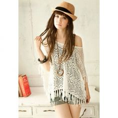 $8.69 Women's Cotton Thread Charming Cardigan With Openwork Large Boat Neck Fringe Design