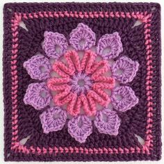 "Free pattern for this beautiful ""Simple 10-Petal Afghan Square"" by Joyce Lewis...love the colors!"