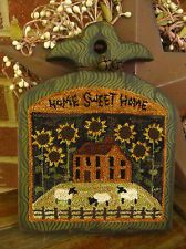 "Primitive Punch Needle ~""Sunflower House"" ~ Hand Painted Wooden Hornbook NEW design from my sister Peg on eBay this week ♥"