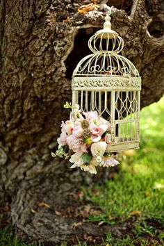 birdcage with flowers!