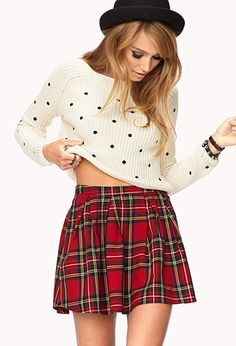 Sweet Polka Dot Cropped Sweater | FOREVER21 - 2077718325