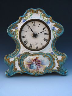Clock Hourglass Time:  Antique #Victorian French Porcelain Sevres Mantle #Clock