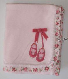 Gymboree Little Ballerina Blanket New Baby Girl Pink Ballet Slippers Roses Twins