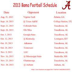2013 Alabama Football Schedule