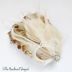 Peacock and Crystal Bridal Feather Fascinator by TheHeadbandShoppe